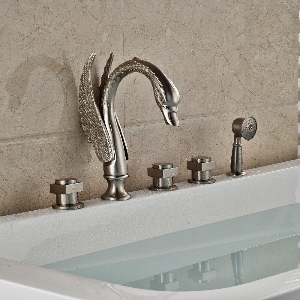 Swan 5pcs Bathtub Faucet Deck Mount Widespread With Handshower