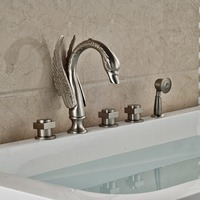 Swan 5pcs Bathtub Faucet Deck Mount Widespread With Handshower Bath Tub Mixer Taps