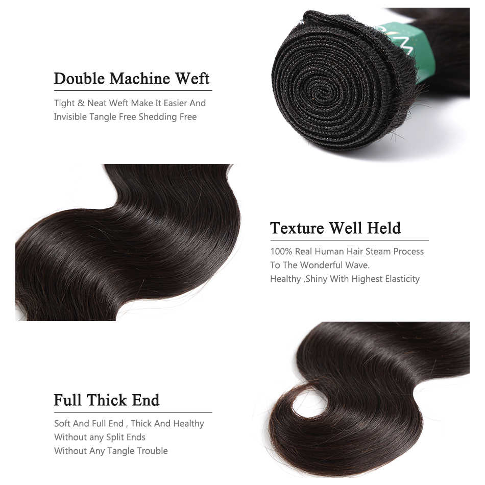 Wigirl волосы бразильские волосы remy переплетение тела волна пучки с парик с пробором посередине 4*4 Кружева Закрытие 100% человеческих волос расширение