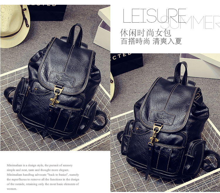 High Quality Women Backpack Vintage Backpacks For Teenage Girls Fashion Large School Bags PU Leather Black Mochila Feminina