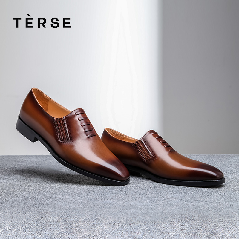 TERSE Shoes Handmade Full Grain Real Leather Shoes Dress Men`s Shoes Luxury Soft Factory to Customer Patina Shoes 15770-19 terse new men s shoes handmade genuine leather dress casual shoes with tassel fashion luxury shoes high quality 2 color 15770 20