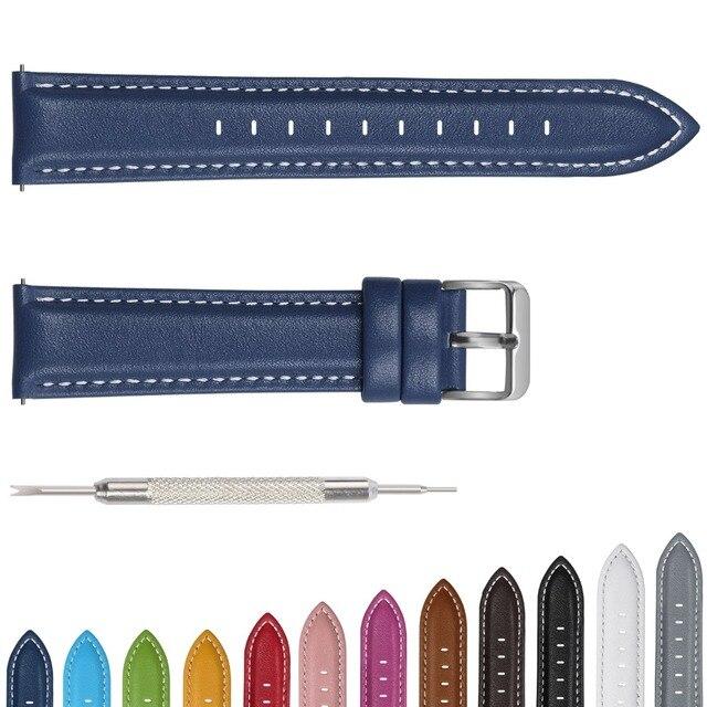 Ремешок для часов Axus, из натуральной кожи, с серебристой или золотой пряжкой, 12 цветов, 18 мм, 20 мм, 22 мм, 24 мм