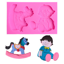 Lovely Boy Wooden Horse Cake Accessories Silicone Mold Jelly Pudding Cupcake Candy Molds DIY A475338