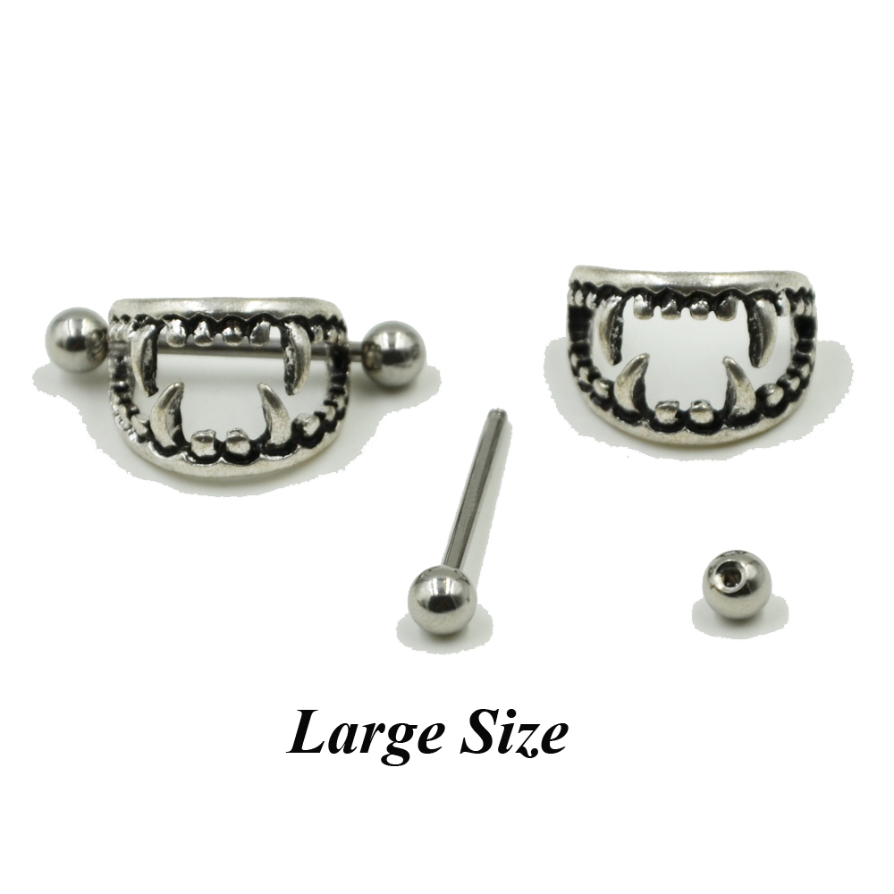Pair of 14G Stainless Steel Barbell Love Bite Fangs Vampire Nipple - Fashion Jewelry - Photo 3