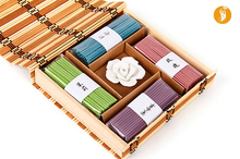 Free Shipping  Meditation relaxation  Incense   Incense Sticks 4 Kinds of Fragrance plus a rose gypsum holder bamboo packing
