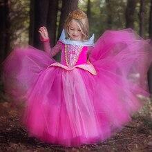 Princesa Aurora 3-9 Anos Tutu Traje Vestido De Baile Vestido de Partido Das Meninas Do Bebê Roupas Criança Crianças Rosa Azul Sono Presentes de beleza