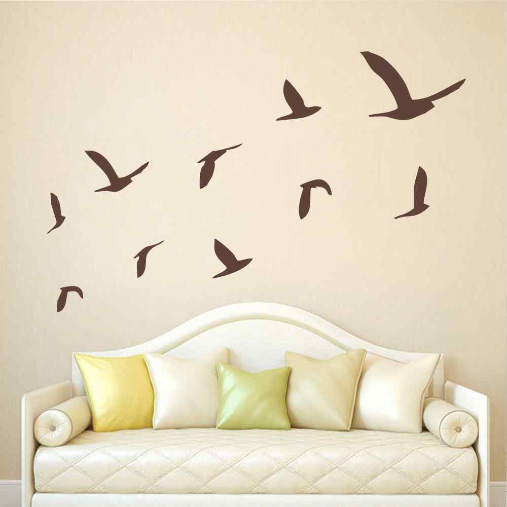 Bird battoo large wall decals flying bird wall stickers set of 10 bird battoo large wall decals flying bird wall stickers set of 10 birds minimal art vinyl home decor mural in wall stickers from home garden on amipublicfo Images