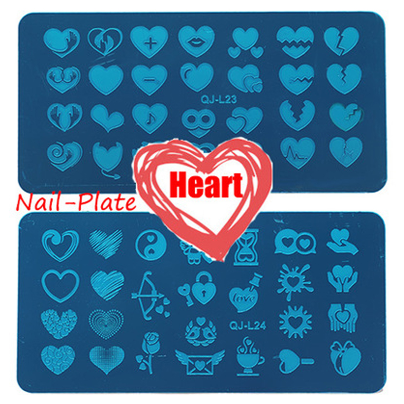 ᗑLove Heart Stamping Nail Art Steel Plates Manicure Template Polish ...