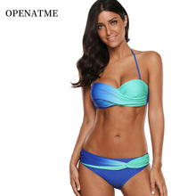 OPENATME Sexy Gradient Bikinis Womens Plus Size Print Sling Swimwear Bandage Push-Up Pad Swimsuit Beachwear
