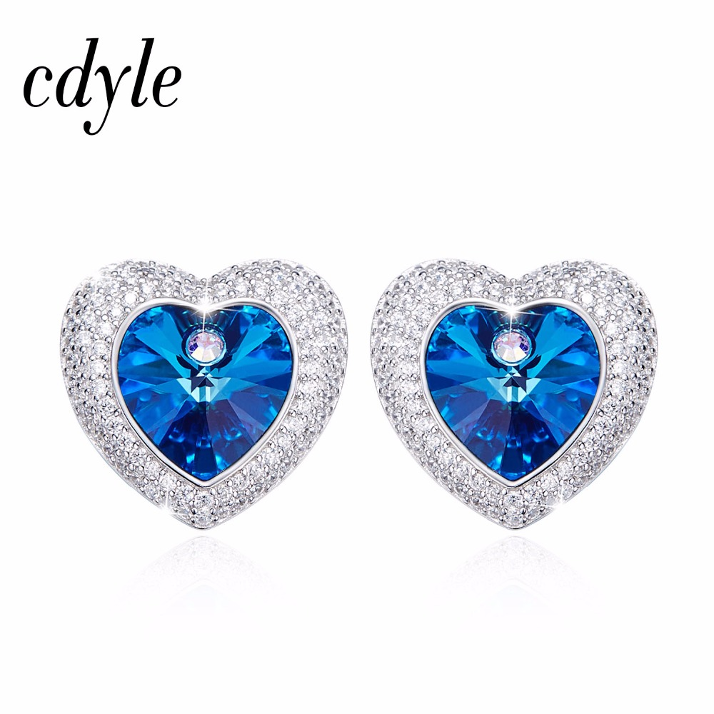 Cdyle Crystals from Swarovski Dangle Earrings Women Vintage Luxury Blue Fashion Jewelry Elegant Austrian Rhinestone Sexy pair of elegant rhinestone snowflake earrings for women