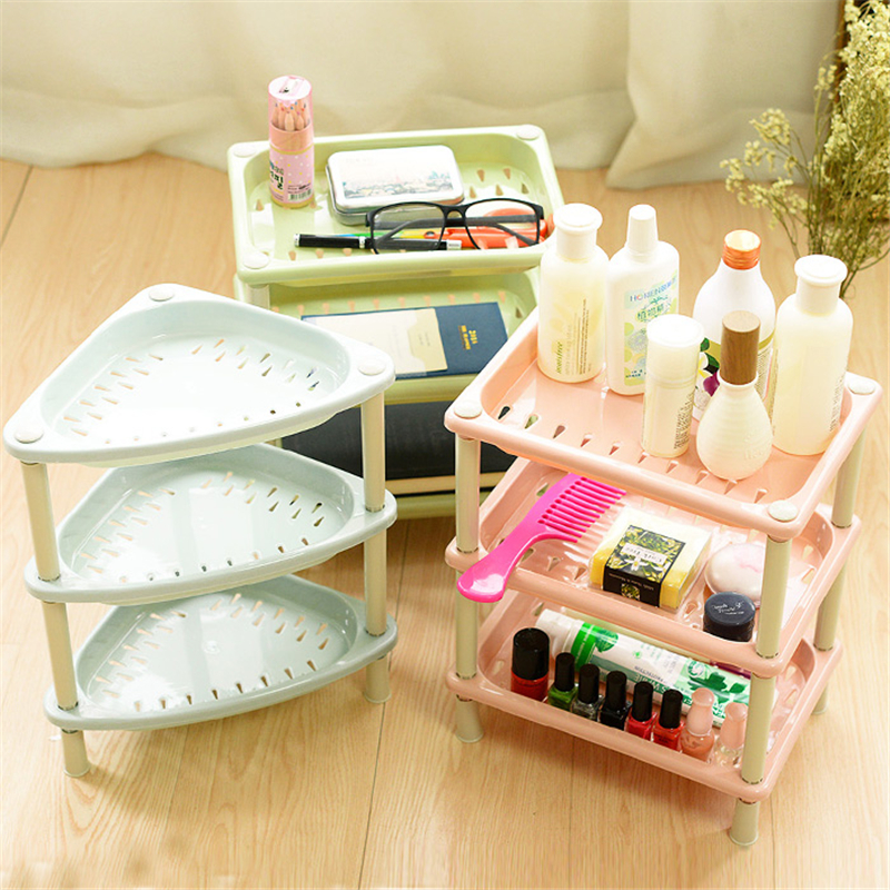 New Candy Color Square Three-Layer Floor Type Big Bathroom Shelves Colorful Storage Holders Racks Bathroom Accessories Sets