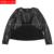 Más el tamaño 2017 otoño invierno moda mujeres de la alta calidad de piel de oveja ronda camisa de cuello camisa de punto negro 3XL