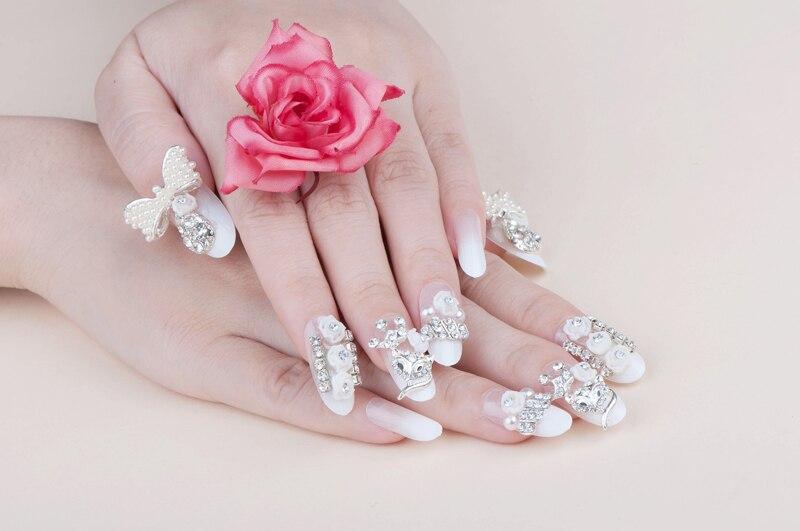 Hot Sale Crystal White Wedding Full Cover Fasles Bridal Nail