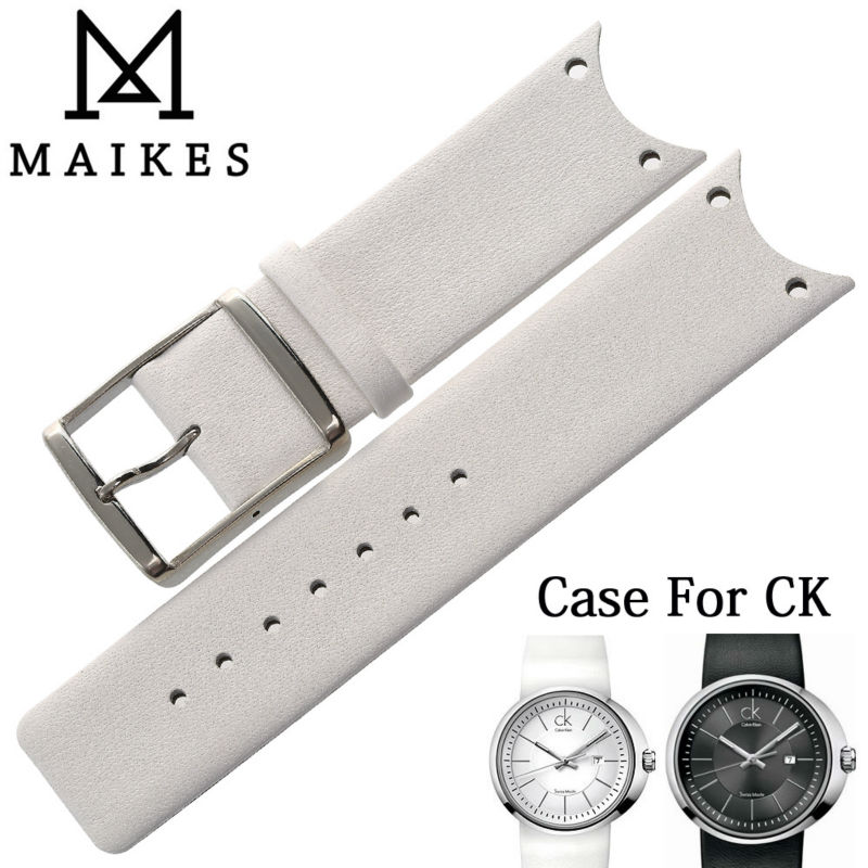 MAIKES New Arrival Genuine Leather Watch Band Strap Soft Durable Thin Watchband Case For CK Calvin Klein KOH23101