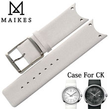 MAIKES New Arrival Genuine Leather Watch Band Strap Soft Durable Thin Watchband Case For CK Calvin Klein KOH23101 KOH23220