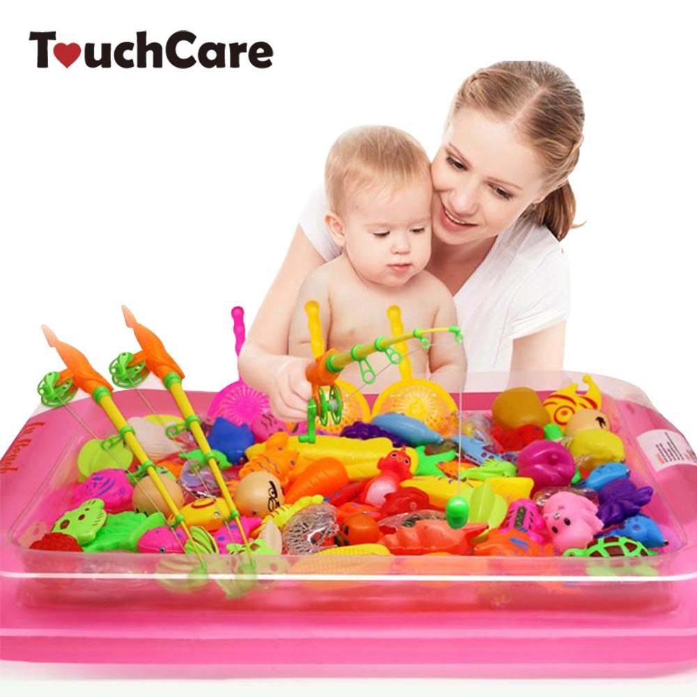 Touchcare 40 Pcs lot Children s Magnetic Fishing Toy With Inflatable Pool Rod Net Set Kids