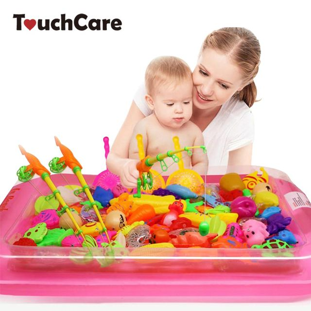Touchcare 40 Pcs/lot Children's Magnetic Fishing Toy With Inflatable Pool Rod Net Set Kids Outdoor Play Fishing Games Bath Toys