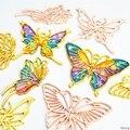 3 шт. Золотая бабочка подвеска на металлическом каркасе установка в открытую рамку УФ Смола DIY ювелирные аксессуары - фото