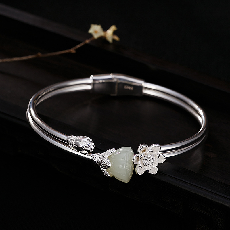 100% Authentic 925 Sterling Silver Hetian Jade Real Silver Bracelet Woman High Quality Lotus Double Layer Bracelete Feminino