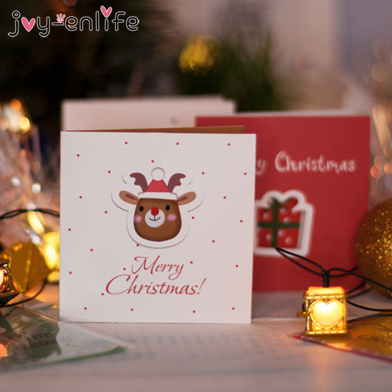 Merry Christmas Greeting Card And Gift Tag Set With Cute: 12pcs Creative Merry Christmas Small Greeting Cards Kids