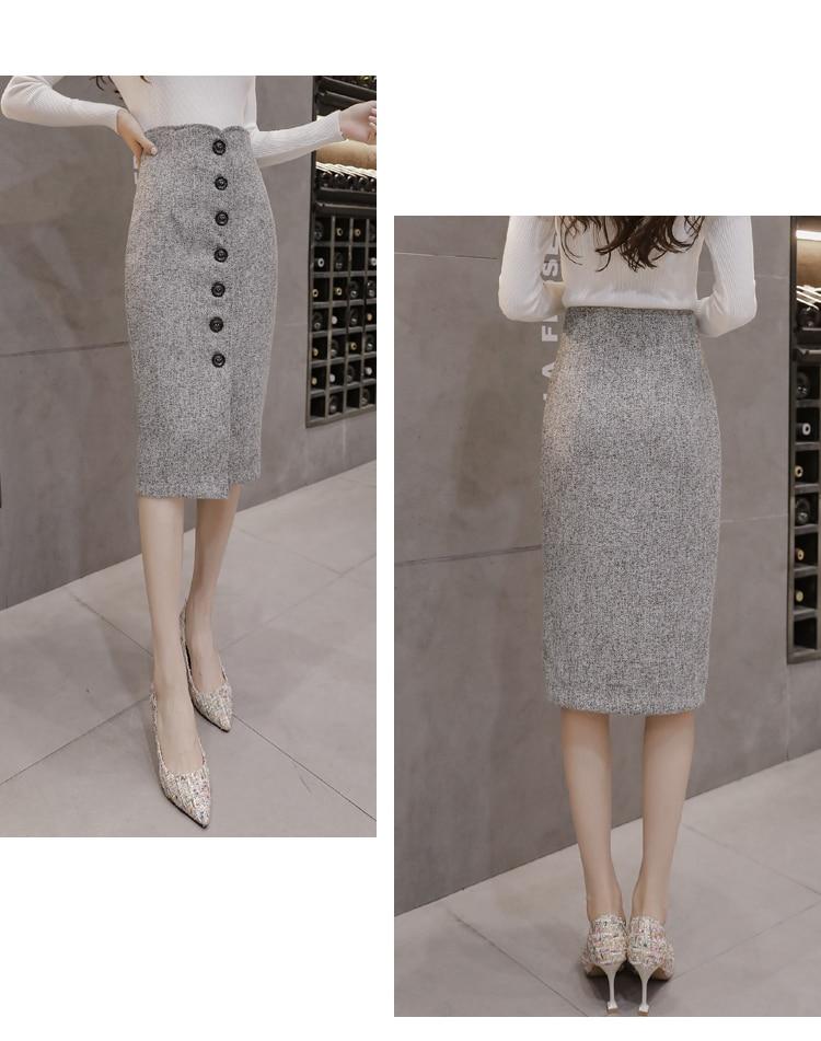 Neophil High Waist Woolen Button Pencil Midi Skirts Office Ladies Office Elegant Grey 19 Winter Wool Wrap Skirts Faldas S1738 9