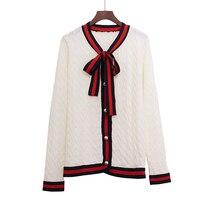 2018 Luxury Designer Brand Spring Knitted Cardigans Women Bow Twist G Pearl Botton Stripe Edge Sweater Black White Red