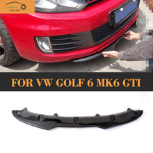цена на Carbon Fiber Auto car Front Bumper Diffuser Lip For Volkswagen VW Golf 6 MK6 GTI 2010 2011 2012 2013 Black FRP