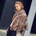 Мода Зима Шарф люксовый бренд шарф женщин пончо большой размер плед шарф теплый Имитация кашемировые шали и шарфы