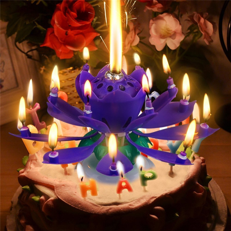 1pcs Amazing Two Layers With 14 Small Candles Lotus Happy Birthday Spin Singing Romantic Musical Flower Party Light Candles Party Light Candle Light Candlemusical Flower Candle Aliexpress