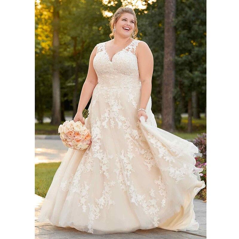 Elegant Plus Size Wedding Dress 2019 V Neck Appliques A Line Lace vintage vestidos boda Wedding