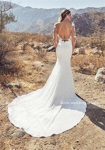 Image 5 - Sheer Scoop Neckline Long Sleeves Applique Nude Bodice Mermaid Wedding Dress Open Back Sexy Bridal Gowns Robe De Mariee Sirene