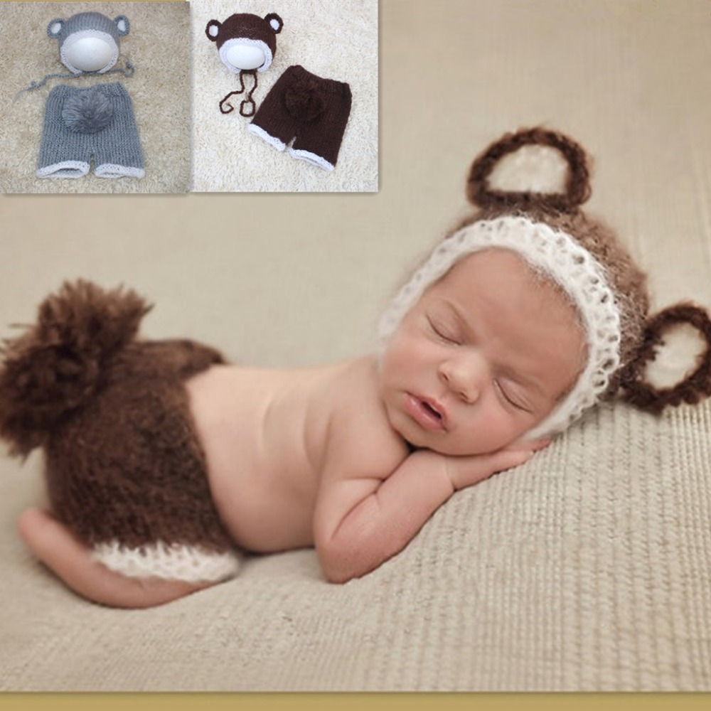 2018 New Products Bear Baby Set Soft mohair hand-knit cartoon bear hat and shorts set of 2 sets of photo newborn photo clothing