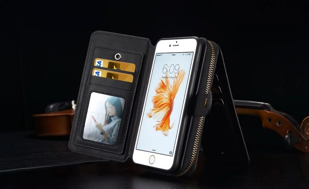BRG Portable Zipper Wallet PU Leather Cases for Iphone 5S 6s Plus 7 8 Plus With 2 in 1 Magnetic Mirror Handbag Lady Pouch Purse