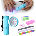 Belen Nail Art Tools Set Kit For UV Gel Varnish 9W LED UV Lamp Nail Dryer Manicure Nail Files Brush Durable Buffing Grit Sand