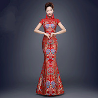 Women Sexy Chinese Traditional Dress Red Chinese Wedding Cheongsam Dress Fishtail Chinese Qipao Lady Evening Party