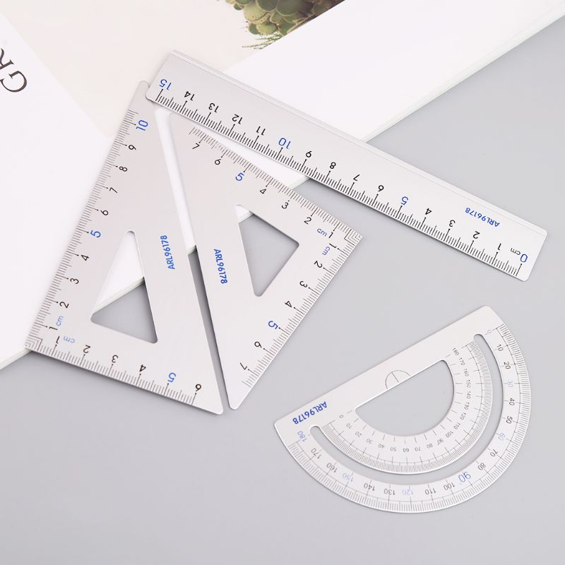 4Pcs Drawing School Supplies Set Square Triangle Ruler Aluminum Alloy Protractor