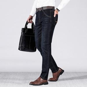 Image 2 - Jantour marca outono inverno calças de brim dos homens denim calças de brim dos homens ajuste fino alto masculino calças de algodão moda grossa jean homem mais tamanho grande 40