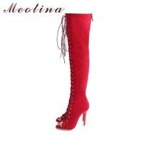Meotina Mujeres Sandalias botas Sobre la Rodilla Botas de Otoño Del Verano Del Alto Talón botas Zip Punta Abierta Lace Up Sexy Extreme High Heels Red 34-43