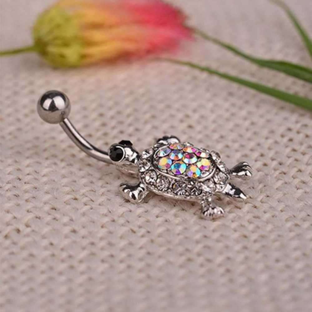 Crystal Rhinestone Belly Button Rings Navel Piercings Turtle Dangle Navel Belly Button Bar Barbell Rings Body Jewelry