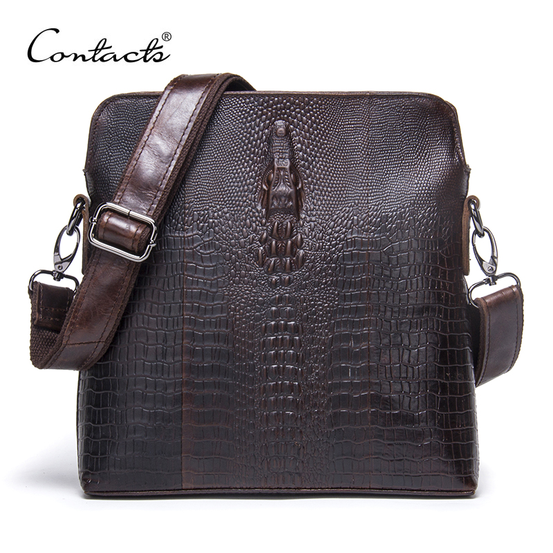 CONTACT'S 2018 Genuine Leather Men Bag For Mele Crocodile Style Men's Business Messenger Bag Tablet PC Handbag For High Quality xoomz for iphone 7 crocodile genuine leather coated plating pc shell brown