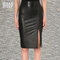 Decoración del remache sexy negro genuino de cuero delgado mujeres de la falda dividida falda lápiz faldas jupe saia falda de piel de oveja de piel de cordero LT1098 etek