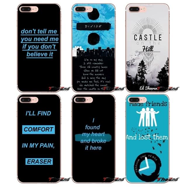 43f7e722441 For iPhone X 4 4S 5 5S 5C SE 6 6S 7 8 Plus Samsung Galaxy J1 J3 J5 J7 A3 A5  2016 2017 singer ed sheeran lyrics Design Phone Case-in Half-wrapped ...