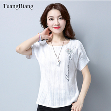 2018 Summer New O-Neck Loose Embroidery T shirt Woman Short Sleeve Fashion Cotton T-Shirts Floral Female Solid Color Autumn Tops