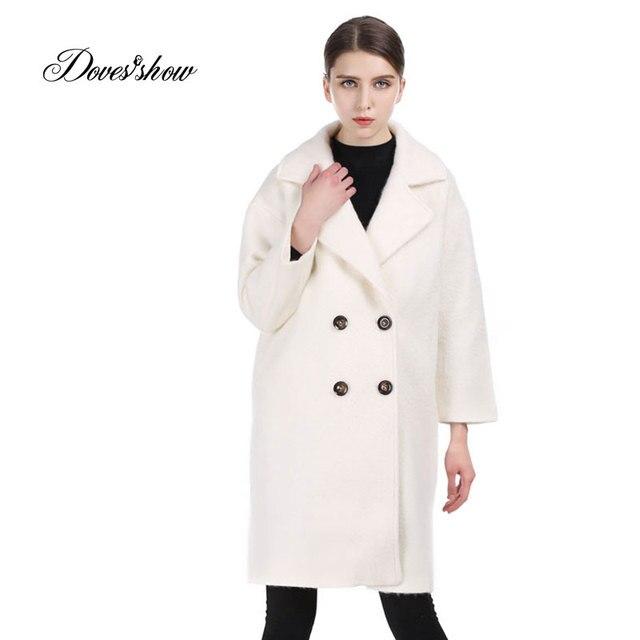 b700bcd198 Vintage Women Beige Long Double Breasted Cashmere Coat Woolen Coat Women  Winter Jacket Overcoat Female Outwear Casaco Feminino
