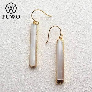Image 2 - Fuwo brincos de selenite natural 24k, joias elegantes com lâmina de cristal, prato de ouro, selenite