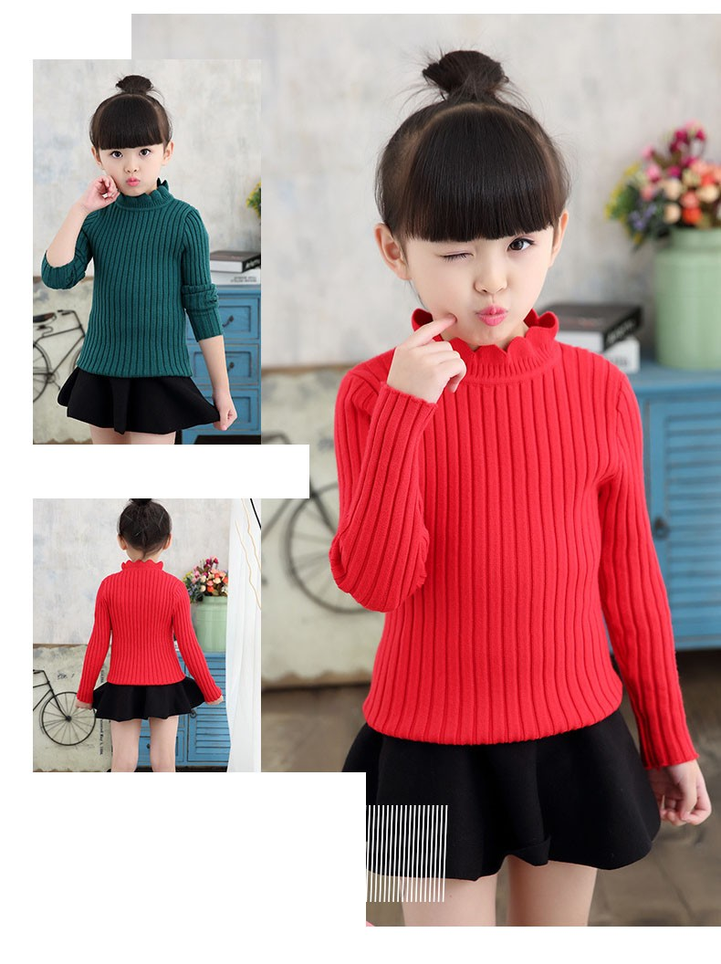 knitting big baby girls sweaters kids winter sweater 2016 long sleeve tops knitted kids sweaters girls pink green black kids top (22)