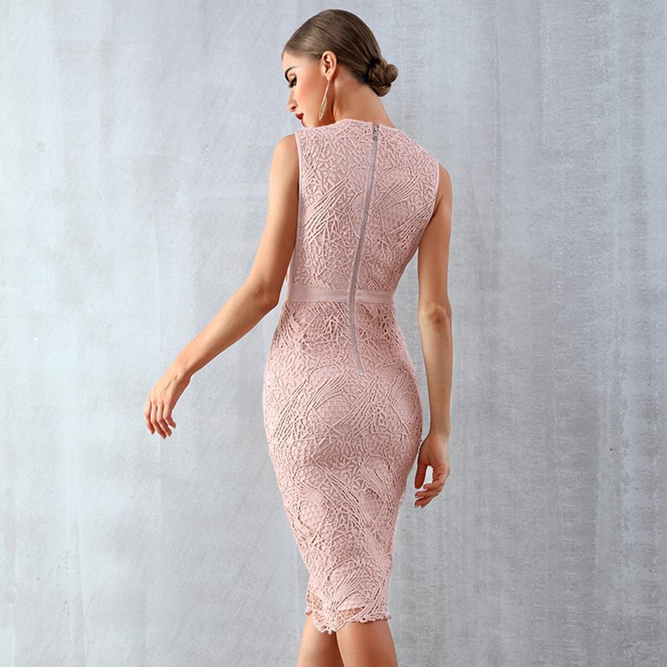 Image 5 - Newest Celebrity Evening Party Bodycon Bandage Dress Women  Sleeveless O Neck Lace Sexy Night Out Club Dress Women VestidosDresses
