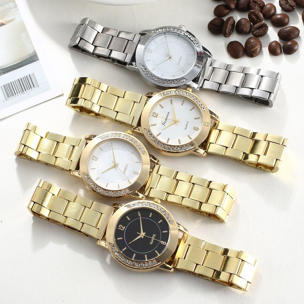 Reloj Mujer Women Stainless Steel Bracelet Wrist Watch Women Watches Fashion Rhinestone Quality Luxury Ladies Watch Clock #W