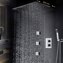 Thermostatic Shower System 24 Inch Big Size Large Rain Massage Shower Set Ceiling Top Shower Wall Mounted Body Jets Spray