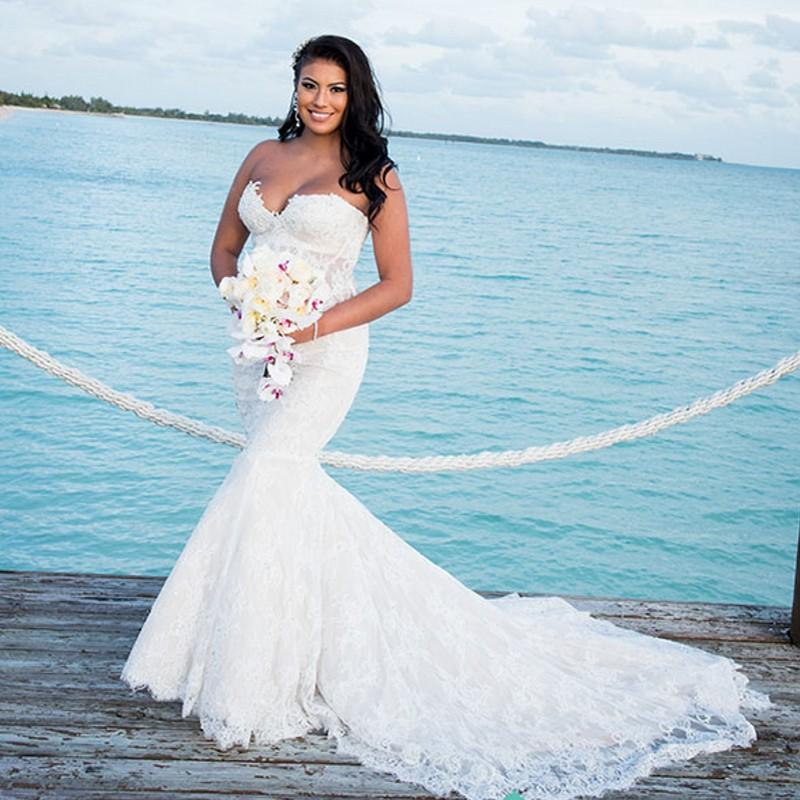 Vintage Pnina Tornai Sweetheart Lace Applique Mermaid 2016 Wedding ...